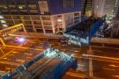 竹芝地区開発計画 首都高速上部デッキ一括架設夜間工事